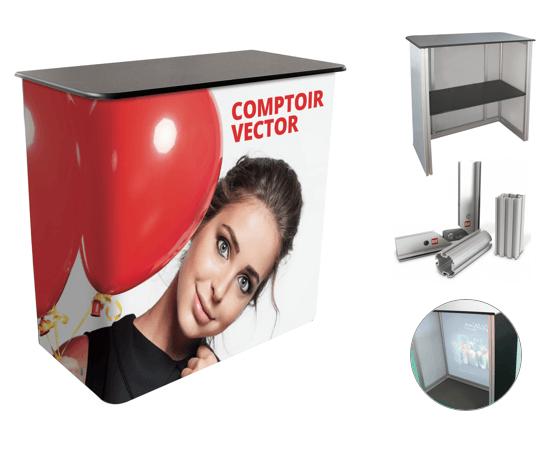 Comptoir d'accueil Vector droit pour stand d'exposition